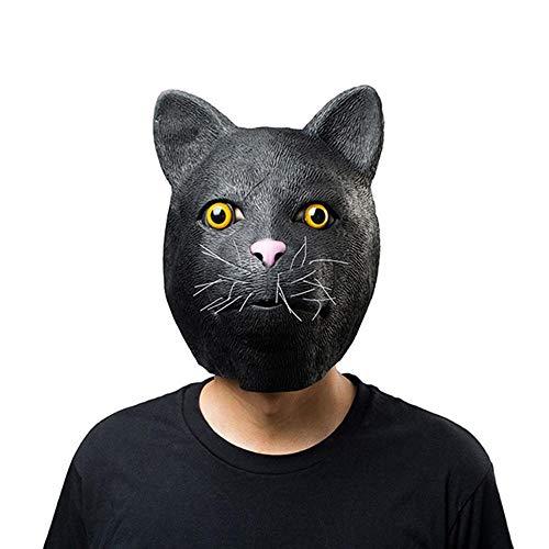 Erwachsene,Halloween, die Schwarze Katze Latex Maske Erwachsene, cos Requisiten ()