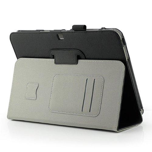 Saxonia Samsung Galaxy Tab 3 10.1 GT-P5200 GT-P5210 GT-P5220 LTE + Touch Stift Smart-Cover Schutzhülle Tablet Case mit Magnetverschluss in Schwarz