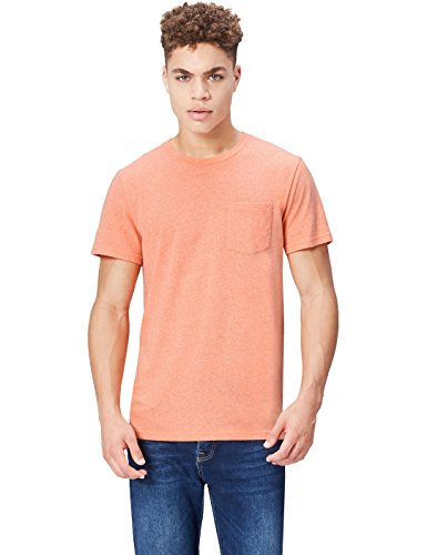 FIND Herren T-Shirt SS Crew Neck With Pocket, Orange (Vermillion Orange), X-Large (T-shirt Pocket Orange)