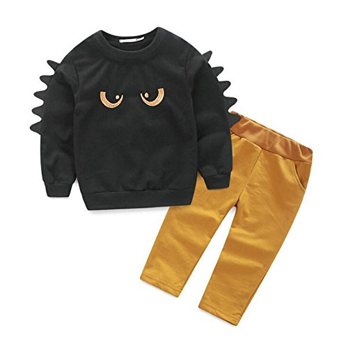 zooarts für 1–5Jahre Kinder Jungen Mädchen Print Long Sleeve Tops Pullover Leggings Hose 2Kinder Strampler Outfit Kleidung SET, Baumwollmischung, schwarz, 120 (5T) (Lange Ärmel Bereich T-shirts)