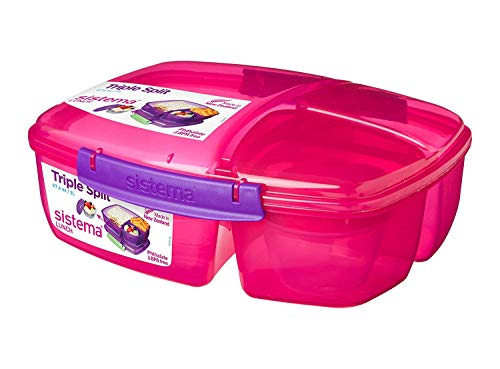 Sistema Lunch Triple Split Lunchbox mit Joghurttopf - 2 L, Rosa