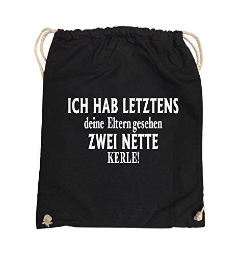Comedy Bags - Ich hab letztens deine Eltern gesehen zwei nette Kerle! - Turnbeutel - 37x46cm - Farbe: Schwarz / Silber Schwarz / Weiss