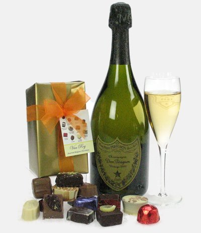 Champagne And Chocolates - Dom Perignon Champagne And Chocolates Gift In A Wooden Gift Box