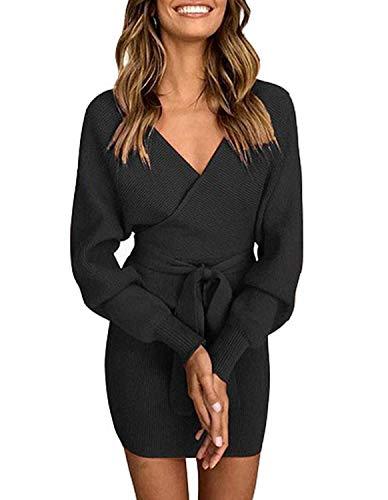 Pulloverkleid Damen Kleider Elegant Strickkleid V-Ausschnitt Langarm Tunika Kleid Minikleid Mit Gürtel (Schwarz, L) (Kleid Pullover Tunika)