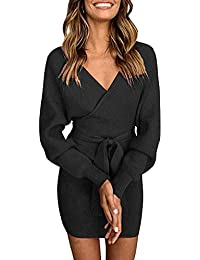 Pulloverkleid Damen Kleider Elegant Strickkleid V-Ausschnitt Langarm Tunika Kleid Minikleid Mit Gürtel