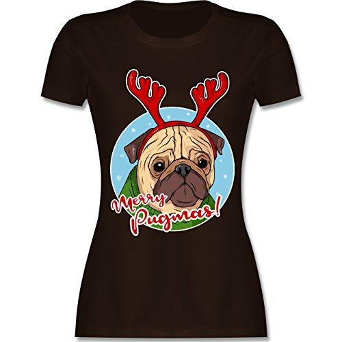 Weihnachten & Silvester - Merry Pugmas! - S - Braun - L191 - Damen T-Shirt Rundhals (Mops T-shirt Weiße Neue)