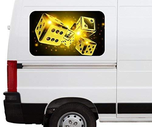 Autoaufkleber Würfel würfeln gelb Glück 6 Spiel Glücksspiel Car Wohnmobil Auto tuning Digital Druck Fenster Sticker LKW Bild Aufkleber 21B1180, Größe 3D sticker:ca. 45cmx27cm (Würfel-glücksspiel)