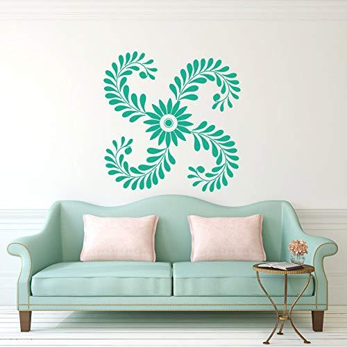 zhuziji Moderno Fiore Astratto Adesivo Bellissimo Modello Vinile Rimovibile r Adesivi murali Art Murale Home Decor Fai da Te Kids 42x42cm