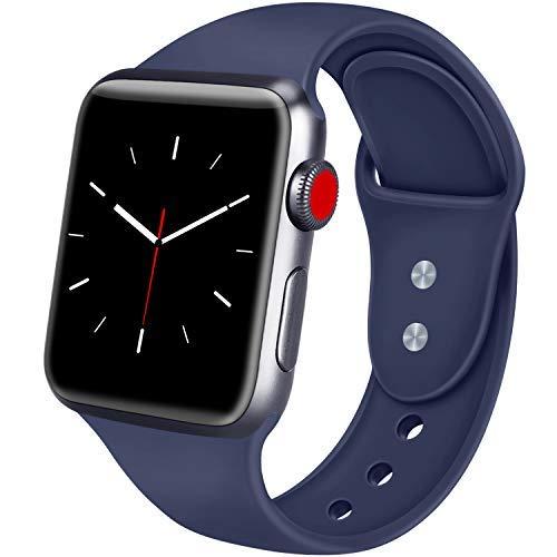 ATUP Correa Compatible para Apple Watch Correa 38mm 42mm 40mm 44mm, Correa de Repuesto de Silicona Suave para iWatch Apple Watch Series 4, Series 3, Series 2, Series 1 (05 Navy Blue, 38mm/40mm-M/L)