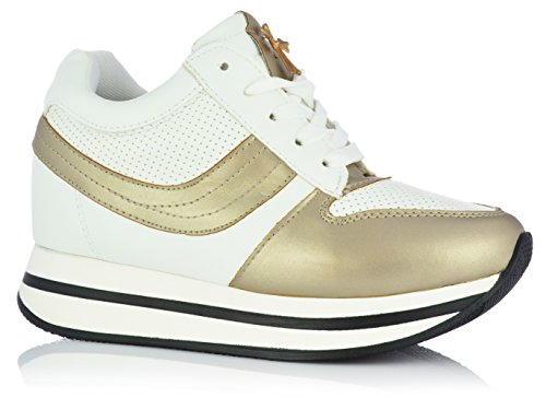 VICES Sneaker Keilabsatz High Top Hidden Wedges Freizeitschuhe Plateau Schnürer (EUR 39, Gold) (Mädchen High-top Wedge Sneakers)