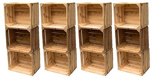 Gebrauchte Holzkisten im 12er Set: Originale Vintage Obstkisten zum Möbelbau oder als Dekoration, sehr stabile Apfelkisten, geprüft und gereinigt, auch als Aufbewahrungsbox 50x40x30 cm -