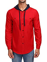 BUSIM Men's Long Sleeve Shirt Autumn Slim Long Sleeve Solid Color Stitching Hoodie Button Casual Fashion T-Shirt...