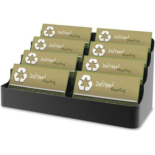 Deflect-o 8 Compartment Business Card Holder - 3.9quot; x 7.9quot; x 3.6quot; - Plastic - 1 - Black by Deflecto