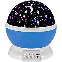 Ecandy 360 grados de rotación 3 Modo de luz del proyector de la estrella romántica Cosmos Luna del cielo de la lámpara de proyección de luz nocturna dormitorio para niños, bebés, regalos de la Navidad, los amantes del USB / Powered.d batería (azul)