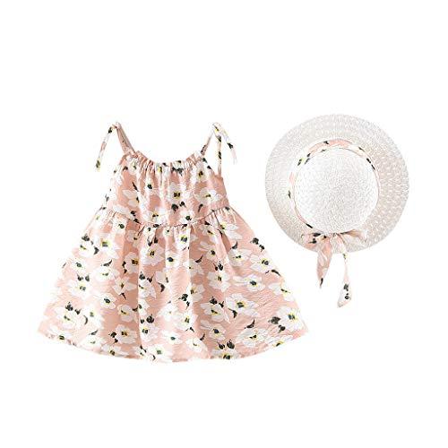SUNFANY Schöne Kleider für Mädchen Sommer Ärmellos Blume Festliches Kostüm Kleiden Prinzessin + Strohhut Gr. 12M-3Y(Rosa,100/18-24 Monate)