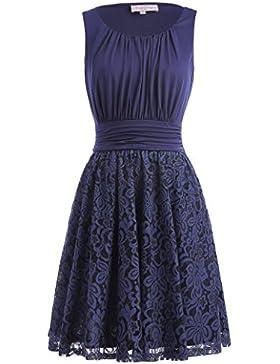 Belle Poque Sommer Retro Rockabilly Kleid A-Linie Ärmellos kleid Spitze Verbindung Kleid Knielang Partykleid MY291