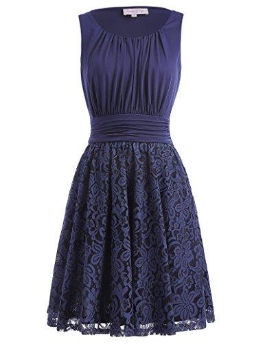 1950s knielang sommerkleid rockabilly spitze verbindung kleid a linie ärmellos kleid swing...