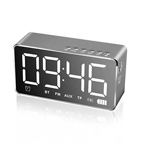 EAAGD LED Sveglia Digitale da Comodino Orologio da Intelligente Bluetooth Speaker,Sveglia,Radio,Displayer Musica AUX TF (grigio)