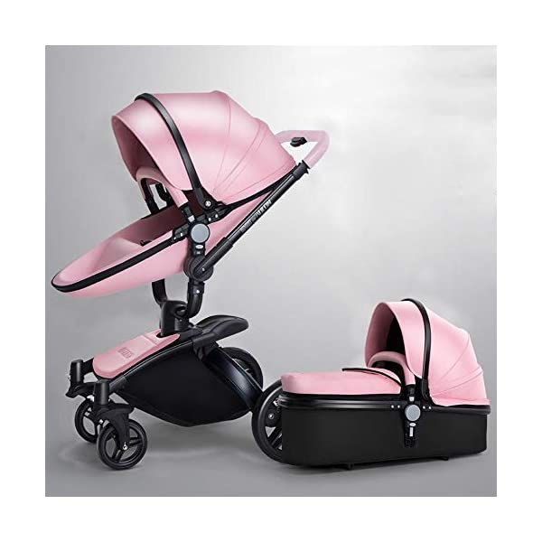 ZhiGe Pushchair Leather Two-Way high-View Suspension Stroller can sit on a Trolley 360 Degrees Rotation ZhiGe Light city stroller Ideal for a daily life with bus or train Compact folding size 1