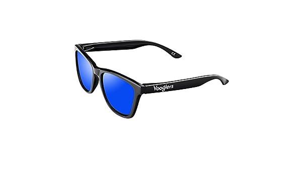 9b5f787fde62 VOOGLERS® SUNGLASSES UNIQUE MADRID NIGHT POLARIZED UV400 BLUE LENS BLACK  FRAME BRIGHT SHINY: Amazon.co.uk: Clothing