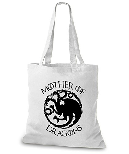 StyloBags Jutebeutel / Tasche Mother of Dragons Weiß