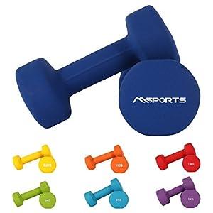 MSPORTS Hantelset Neopren 0,5 – 5 kg Paar inkl. Übungsposter | Kurzhanteln