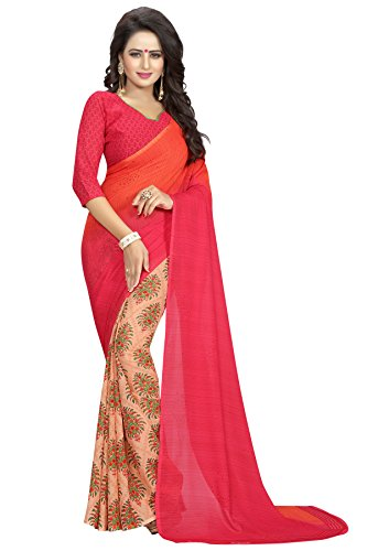 Kanchan Women's Soft Georgette Saree (Pink)
