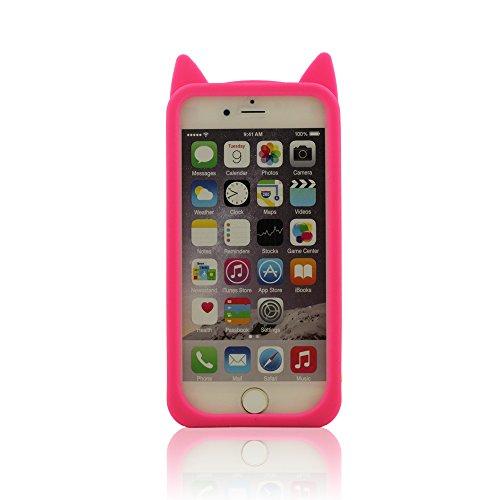 Silicone Coque pour iPhone 6 / iPhone 6S (4.7 Pouce), Dessin animé Style 3D Chat Modélisation Apparence, Coloré Soft & élastique Prime Silicone Étui de protection Cover Bumper + 1 Stylet Rose vif