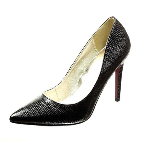 Angkorly - Scarpe Moda scarpe decollete stiletto sexy donna pelle di serpente Tacco Stiletto alto 11 CM Nero