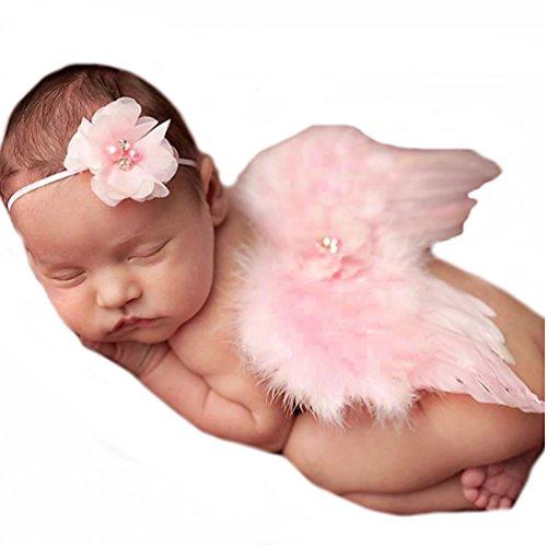Veewon Neugeborene Baby Mädchen Jungen Kostüm Fotografie Props Feder-Engels-Flügel-Stil Outfit mit Stirnband Set (Rosa)