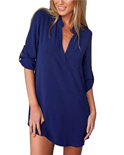 ZANZEA Donna Sexy V-Neck Chiffon Maniche Lunghe Camicetta Camicia Tops Shirt Blu IT 50/US 18