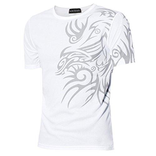 Kanpola Sport T-Shirt Herren Unregelmäßige Polyester Kurzarm Hedging Slim Fit Bluse für Jogging Yoga Männer Tops (M/48, D-Weiß)