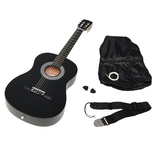 ts-ideen 5262 - Children's acoustic guitar (size 3 / 4, for 8-12 approx. years, includes spare case, strap and cords), black color