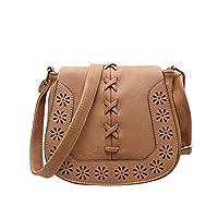 حقيبة جلد للنساء , بني - حقيبة كتف
