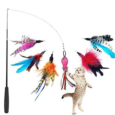 GingerUPer Katzenspielzeug Interaktives Spielzeug mit Federn,Katzenspielzeug Feder,Katze Spielzeug mit 6 Katzenangel…