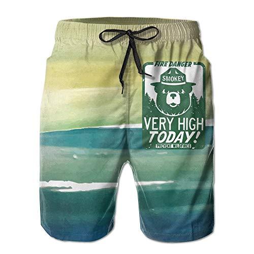 ARTOPB Men's Smokey The Bear Fire Danger Very High Today Swim Trunks Beach Board Shorts,XXL