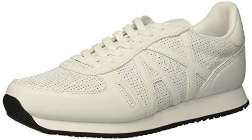 Armani Exchange Herren Lace Up with Logo Sneaker, Weiß (White 00152), 43 EU