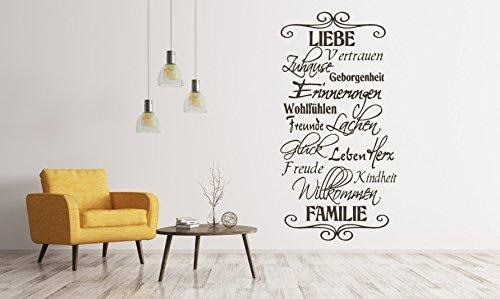 tjapalo® S-TK06a H 120 x B 58cm Wandtattoo Banner Wandbanner Liebe Familie Willkommen Glück Zuhause Wir sind Wandtattoo Familie Zuhause Liebe Vertrauen Zuhause Erinnerungen … Esszimmer Flur