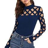 Subfamily Femme Chic T-Shirt Sexy à Manches Longues Couleur Garniture Sangle Débardeurs Gilet Camisole Débardeur à Bretelle Dentelle T-Shirt avec Dos Shirt À Lacets T Shirt