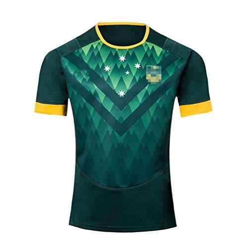 ZSZKFZ Australian Rugby Kleidung, Rugby Kleidung T-Shirt Kurzarm (Color : Green, Size : XXL)