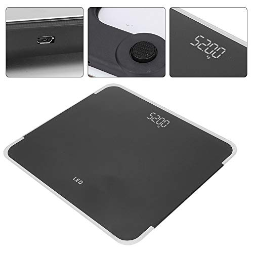 Körpergewicht-Badezimmerwaage, elektrische Digital-Gewichts-Körper-LED-Anzeigen-Skala Hochpräzise USB-Ladeskala(Schwarz)