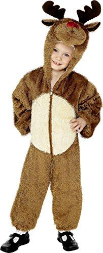 Smiffys, Kinder Unisex Rentier Kostüm, Jumpsuit mit Kapuze, Größe: M, 30783