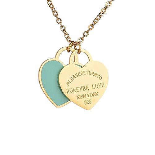 Ciondolo in argento con doppio cuore in acciaio al titanio e oro e Titanio, colore: Blue Enamel, cod. GoldBlueEnamel