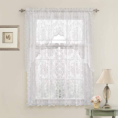 GoodGram Lena Floral Lace Komplettset, 3 Stück Cottage Küchen-Vorhang-Etage und Querbehang Landhausstil weiß
