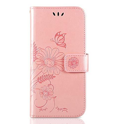 ivencase Samsung Galaxy A20e Hülle Flip Lederhülle, Samsung A20e Handyhülle Book Case PU Leder Tasche Case mit Kartenfach & Magnet Kartenfach Schutzhülle für Samsung Galaxy A20e - (Pink-Gold)