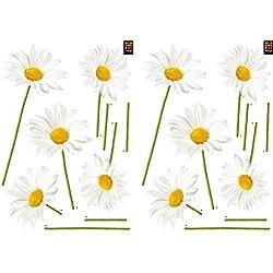 PLAGE Decoración Adhesiva Margaritas, Vinilo, Blanco, 21x3x29.6 cm