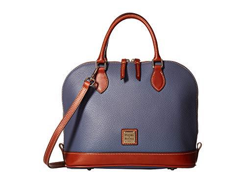 Dooney Frauen Handtasche (Dooney & Bourke Umhängetasche aus Leder mit Reißverschluss, Kieselmuster, Blau (stahlblau), Einheitsgröße)