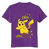 Buluew Street Pikachu Pokemon T-Shirt 100% Coton pour Homme Bleu Roi Taille US