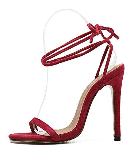 Aisun Femme Elégant Bout Ouvert à Lacets Sandales Rouge