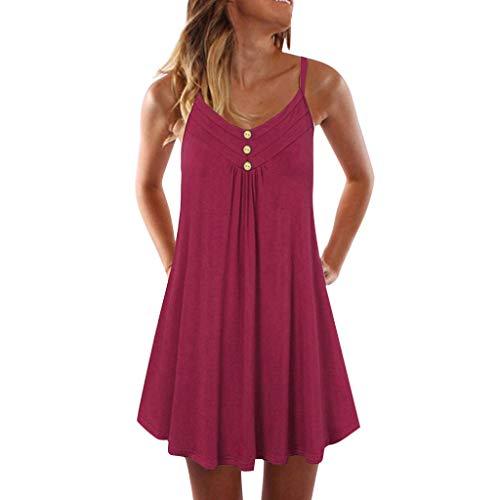 iHENGH Damen Sommer Top Bluse Bequem Lässig Mode T-Shirt Blusen Frauen Sleeveless Spaghetti Strap Zweireiher Plain Shift Kleid(Rot, S)
